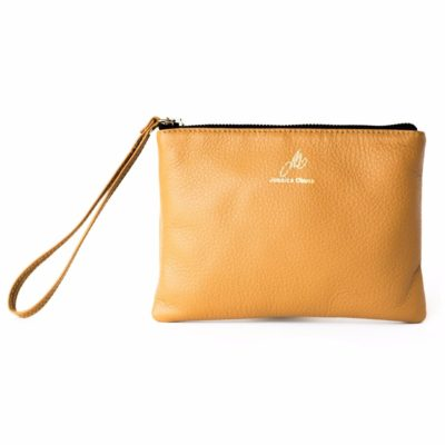 Caramel Iconic Wristlet with zipper closed