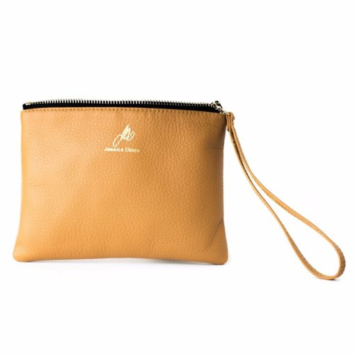 Caramel Iconic Wristlet with zipper open