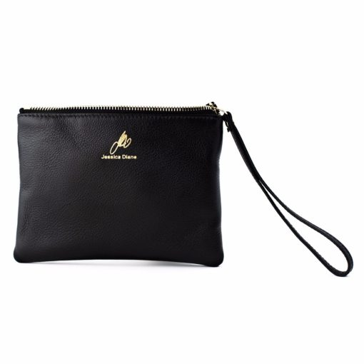 Black Iconic Wristlet with zipper open