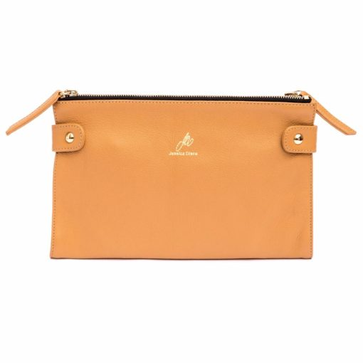 Caramel Cali clutch with chain removed